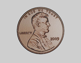 3D asset low-poly Coin - one US cent