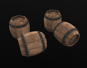 Stylized Barrel 3D model low-poly