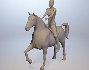 Horse with female rider 3D printable model