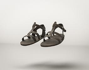 3D model low-poly Roman Ancient Sandals Shoes