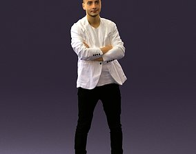 Man in white jacket black pants converse 0532 3D Print