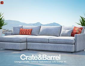 Lounge II Petite Outdoor Upholstered Sofa 3D model 1