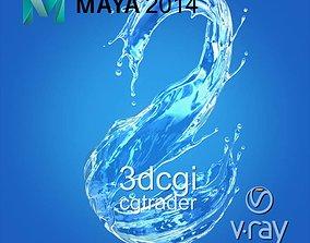 Water splash 3d model wet