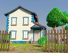 3D Toon House With Garden