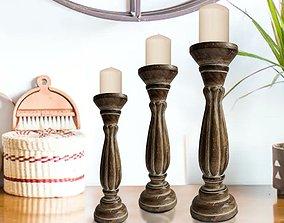 Handmade Wooden with Pillar Base Support 3D