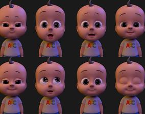 Cartoon Baby Boy Rigged 3D model rigged