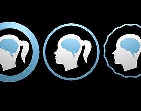 Low poly brain symbol 11 3D asset realtime