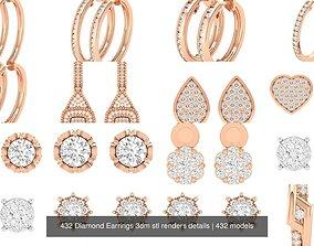 432 Diamond Earrings 3dm stl renders details