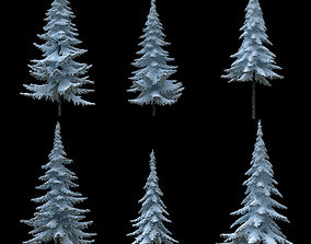 3D snowflake Snow-covered trees