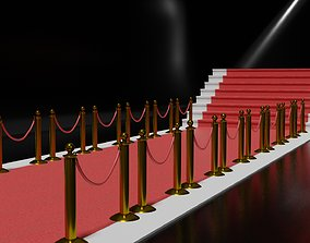 barrier Red Carpet with Golden Barriers 3D model