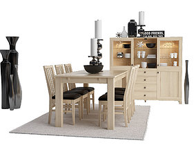 3D Dining furnitures set 02