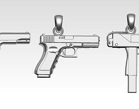 3D print model Lot of 3 gun pendants necklace