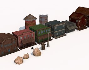 3D model realistic wild west buildings and props low 2