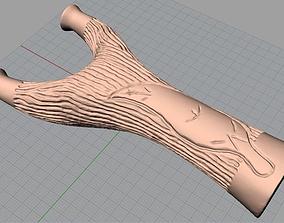 CNC Wood Carving Model Trunk Leaves Slingshot C012 3D