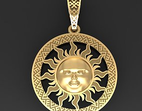 silver Sun face pendant 3D printable model