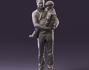 000978 Man in red sweater with kid in hands 3D Print