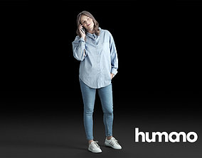 Humano Casual Woman in blue shirt Standing and calling 3D