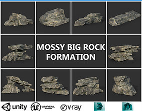 Low poly Big Rock Formation Pack 200928 - Mossy 3D asset