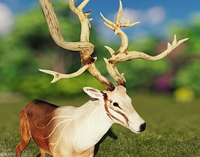 Deer stag Low-poly 3D model animated