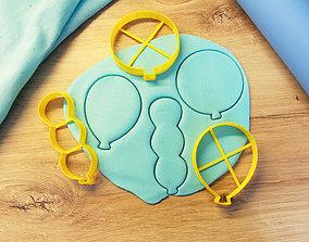3D print model Balloons cookie cutter kitchen