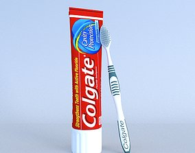 3D model Colgate Toothpaste Box and toothbrush