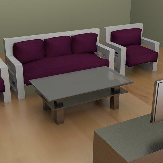 Interier wooden sofa
