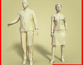 LOW POLY Cartoon Business Man - Woman 3D asset