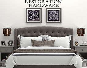 3D model RH Warner Tufted Fabric Bed
