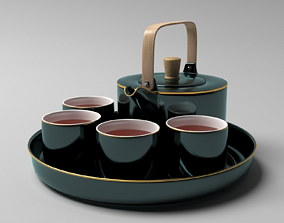 3D tray with green antique oriental kettle and cups with