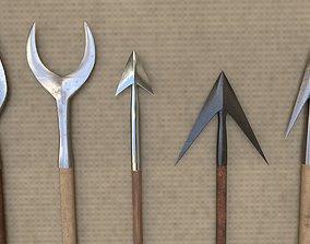 Medieval Arrowheads low-poly set 3D