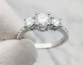 3DM Three stones wedding ring for her