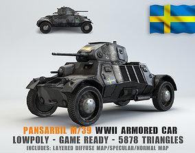 3D model Low Poly Pansarbil M39 armored car
