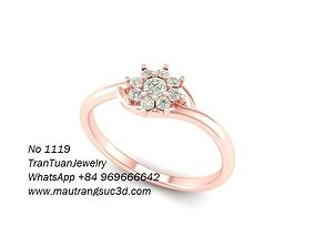1119 Simple Diamond Flower Ring 3D printable model