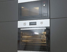 3D Modern microwave and oven