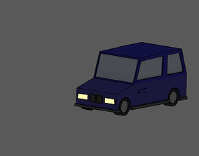Blue small Hatchback low poly 3D model