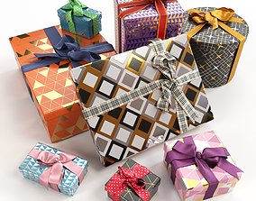 various 3D Gift boxes with bows part 3