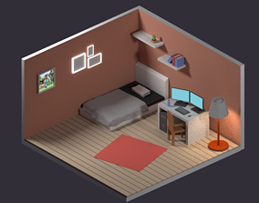 free low poly and isometric room for blender 3D model