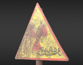 3D asset Game-ready Radioactivity sign rusty - Unity - 2