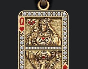 Heart queen playing card pendant 3D print model