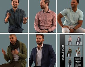 Set of 3D men sitting in various poses