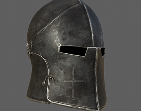 Medieval Knight Helmet x 3 Textures 3D model realtime