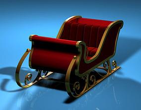 3D Red Santa Claus sled