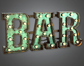 3D asset Large Light Up Letters 01 Dive Bar - PBR Game