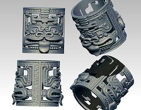 Woodoo Mayan Maori Carved Detailed Ring 3D print model