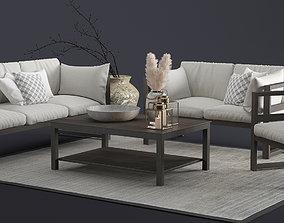 3D Modern Outdoor Wood Furniture Set
