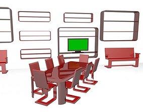 Minimal Design Furniture Set and Led 3D model