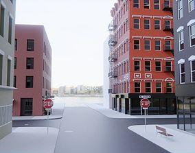 New York City Buildings - Manhattan Street Scene 3D model