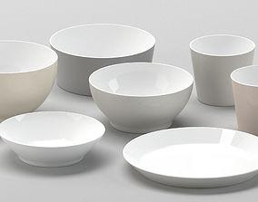 3D White ceramic bowls