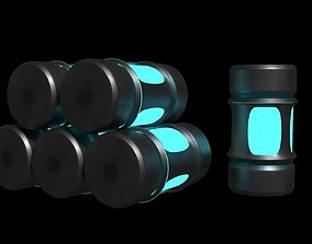 Neon Capsule Canister Sc Fi Game Ready Prop 3D asset 2