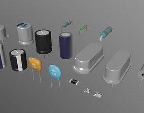 Capacitor Resistor and Crystal oscillator 3D model